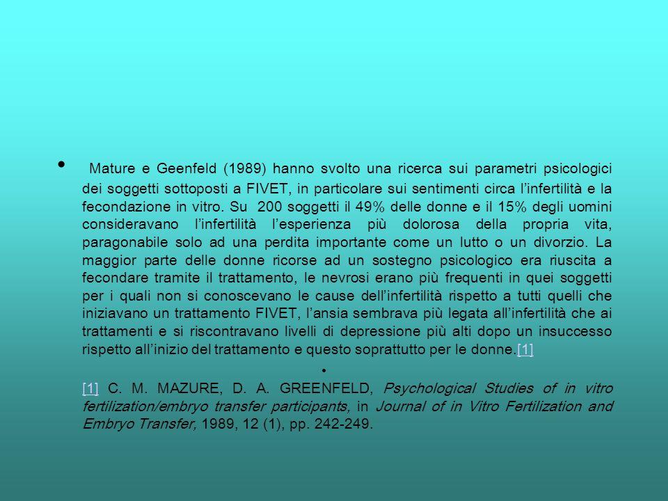 Mature e Geenfeld (1989) hanno svolto una ricerca sui parametri psicologici dei soggetti sottoposti a FIVET, in particolare sui sentimenti circa l'infertilità e la fecondazione in vitro. Su 200 soggetti il 49% delle donne e il 15% degli uomini consideravano l'infertilità l'esperienza più dolorosa della propria vita, paragonabile solo ad una perdita importante come un lutto o un divorzio. La maggior parte delle donne ricorse ad un sostegno psicologico era riuscita a fecondare tramite il trattamento, le nevrosi erano più frequenti in quei soggetti per i quali non si conoscevano le cause dell'infertilità rispetto a tutti quelli che iniziavano un trattamento FIVET, l'ansia sembrava più legata all'infertilità che ai trattamenti e si riscontravano livelli di depressione più alti dopo un insuccesso rispetto all'inizio del trattamento e questo soprattutto per le donne.[1]
